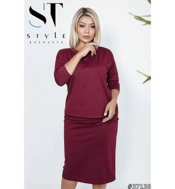 Костюм 37136(блузка+юбка) (бордо)