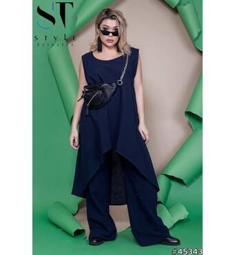 Костюм  45343 (туніка брюки) (темно синій)