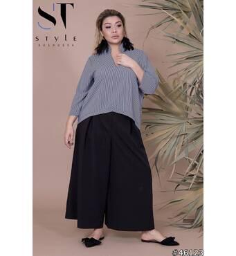 Костюм  46123 (блуза кюлоты) (чорна смужка/чорний)