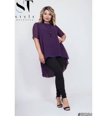 Костюм 50264 (туніка брюки) (фіолетовий/чорний)