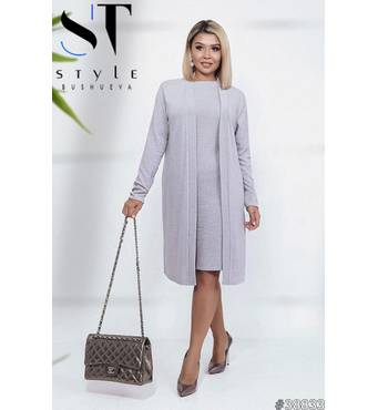 Комплект 38833 (сукня   кардіган) (сірий)