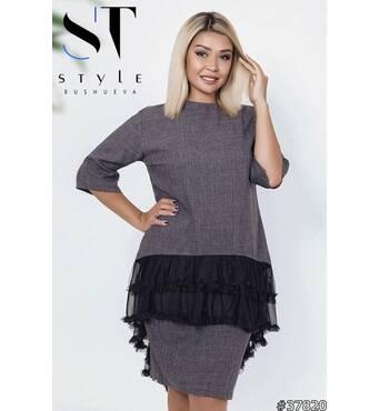 Костюм 37820 (блуза спідниця) (темно-сірий)