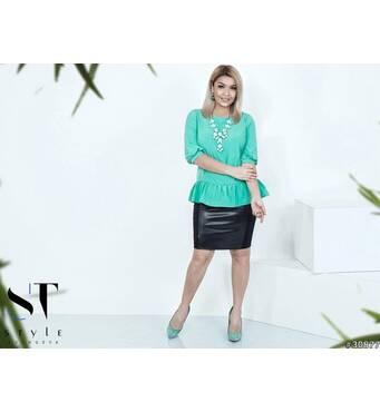 Костюм 30877 (блуза   спідниця)  (зелений/чорний)