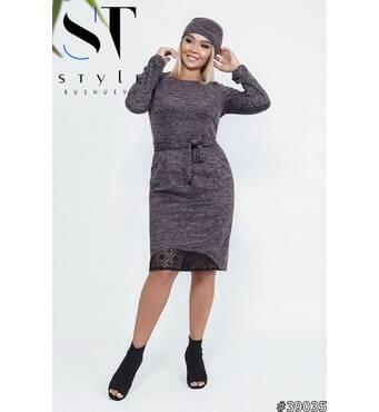 Комплект двойка 39035 (платье+повязка-хомут) (черно-серый)