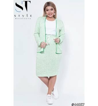Костюм двойка 44057 (кофта+юбка) (салатовый)