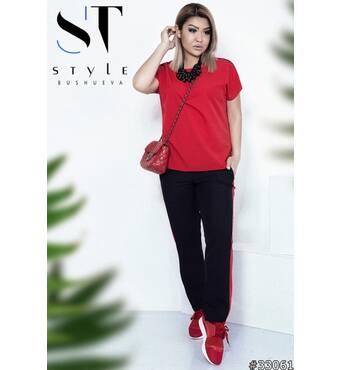 Костюм 33061 (блуза брюки) (червоний/чорний)