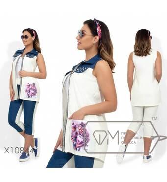 Двухцветный комплект: жилет с отделкой из страз, накладными карманами из пайеток и 3D принтом, бриджи на резинке с манжетами X10844