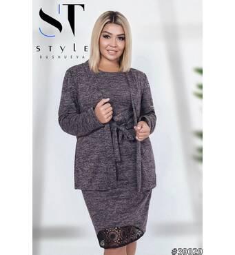 Комплект двійка 39029 (сукня   кардіган) (чорно-сірий)