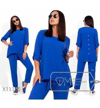 Льняной костюм: туника удлиненная с рукавами 3/4 на патиках, накладными карманами и асимметричным подолом на кулиске, брюки на резинке X11155