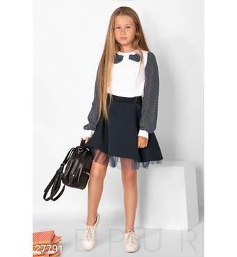 Шкільна блуза в горошок