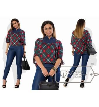 Костюм з джинса і французького трикотажу - туніка-фрак вільна з щілинним вирізом і облягаючі брюки X5915