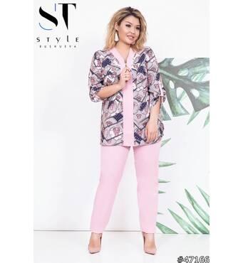 Костюм  47166   (блуза брюки) (пудра)
