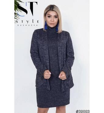 Комплект двойка 39093 (кардиган + платье)   (синий)