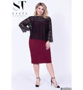Комплект двійка 46594 (сукня   накидка) (чорний/бордо)