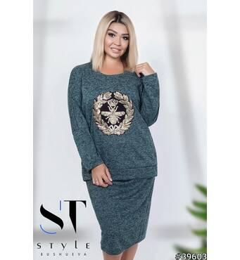 Костюм 39603 (кофта+юбка) (бирюза)