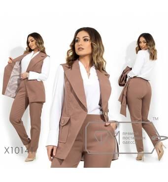 Брючний костюм з двобортним жилетом на підкладі, накладною кишенею і широкими лацканами, брюки завужені (на гумці) X10141