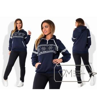 Спорткостюм Сніжинка з трехнитки на флисе - худи з малюнком і контрастною обробкою плюс приталені штани X5388