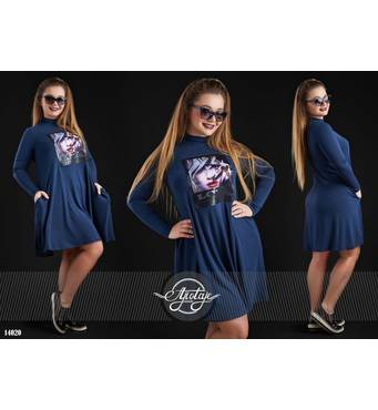 Сукня - 14020 (темно-синій)