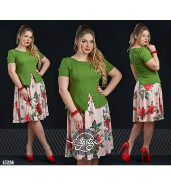 Сукня - 15226 (зелений верх)