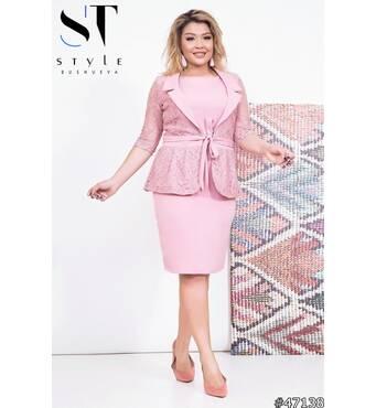 Комплект 47138 (платье+жакет) (розовый)