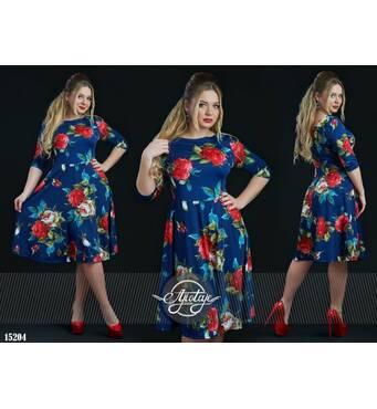 Платье - 15204 (красные цветы)