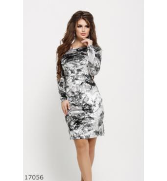 Жіноча сукня 17056 сірий принт чорний