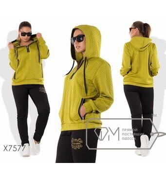 Спорткостюм из трикотажа стежки - толстовка с капюшоном, воротом-поло и косыми карманами на молниях плюс прямые брюки с логотипом X7577