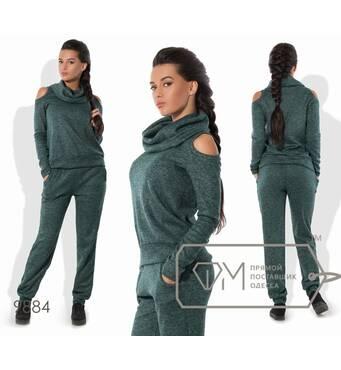 Костюм в спортивном стиле из ангоры софт с напылением - прямой свитер с воротником-хомут и вырезами на плечах плюс штаны-бананы 9884