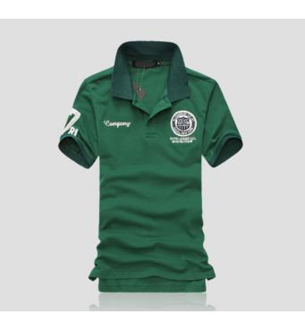 Модная футболка с воротником код 66 (зеленая)