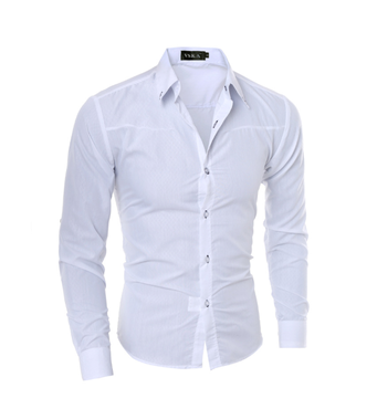 Стильная мужская приталенная рубашка в британксом стиле длинный рукав белая код 1 5XL