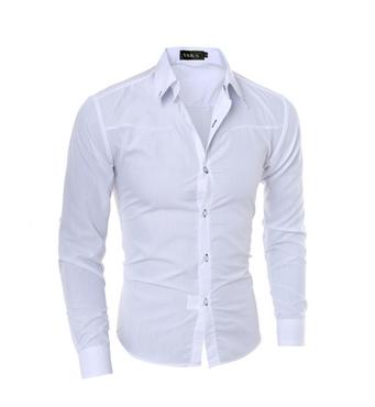 Стильная мужская приталенная рубашка в британксом стиле длинный рукав белая код 1 XXXL