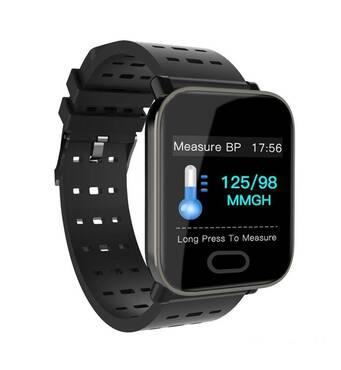 Часы Smart Watch Bakeey A6 чёрные умеют измерять пульс, артериальное давление, уровень кислорода в крови.