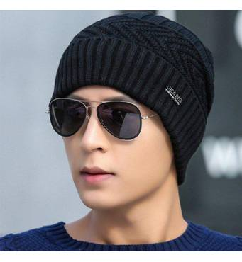Зимняя вязаная мужская шапка JEANS черная код 92