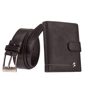 Мужской кошелек + ремень натуральная кожа бренд Rovicky  код 322