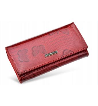Женственный и элегантный кошелек Lorenti из натуральной лакированной кожи (красный) Италия код 332