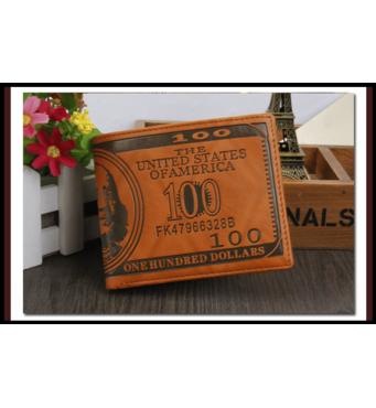 Мужской кошелек 100 Долларов светло-коричневый