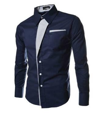 Чоловіча сорочка приталена M, L, XL, XXL ( темно-синя ) код 2