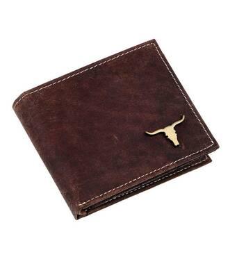 Стильний чоловічий гаманець із зображенням бика Buffalo Wild (натуральна глянсова шкіра)