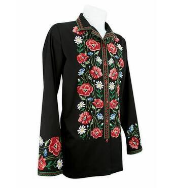 Нарядная черная рубашка с цветочной вышивкой купить в Украине