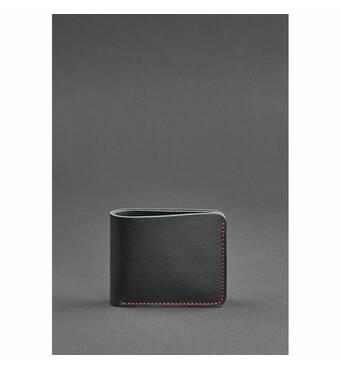 Чоловіче шкіряне портмоне 4.1 (4 кишені) чорне з червоною ниткою