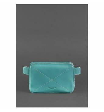 Шкіряна жіноча поясна сумка Dropbag Mini бірюзова