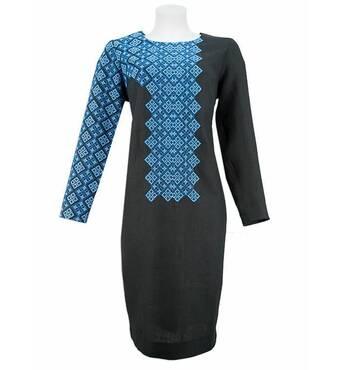 Черное приталенное платье с вышитым рукавом купить в Чернигове