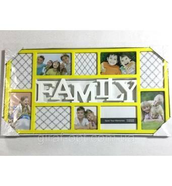 """Коллаж желтый на 10 фото'""""Family""""(AM8612)"""