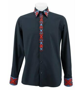 Чорна сорочка з вишитим коміром і планкою купити в Полтаві