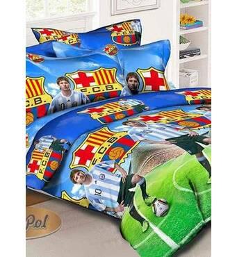 """Полуторный комплект постельного белья из ранфорса для мальчиков""""fc barcelona""""(Месси)"""