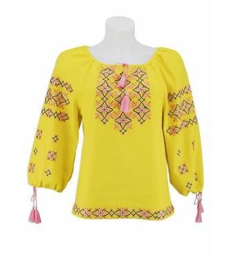 Яскрава сонячна сорочка, вишита в рожево-чорній гамі купити в Україні