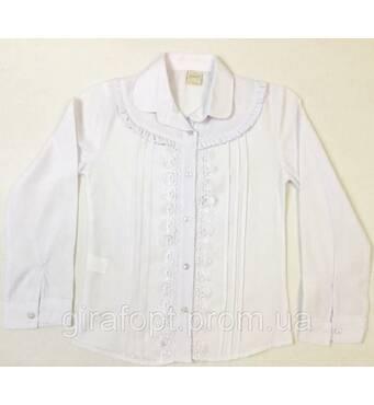 Школьная блузка с декоративными складками на возраст 6-9 лет