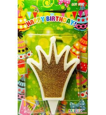 Свеча для торта Корона золотая