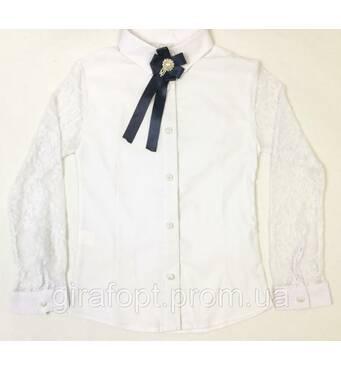 Блузка школьная с брошью на возраст 9-12 лет
