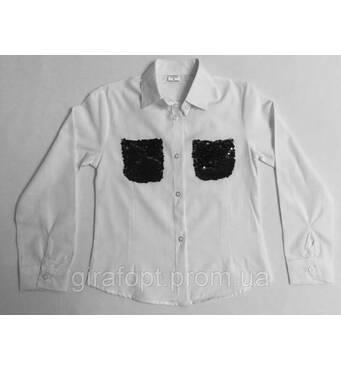 Блузка рубашка школьная для девочки 6-9 лет